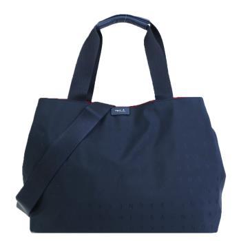 agnes b. 燙金logo浮水印三層手提/斜背包-大/深藍