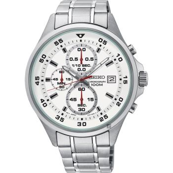 SEIKO 精工 浩瀚宇宙三眼計時錶-白x銀/42mm 4T57-00J0S(SKS623P1)