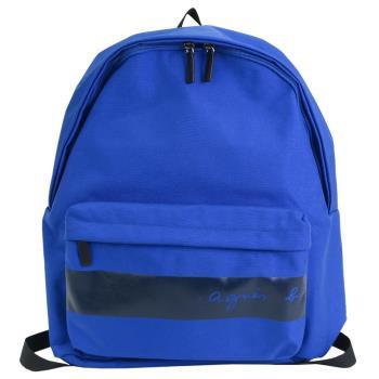 agnes b. CORDURA橫紋帆布後背包-藍