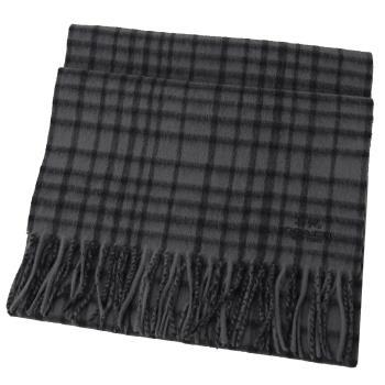 COACH 12167 馬車LOGO喀什米爾羊毛流蘇格紋圍巾.深灰