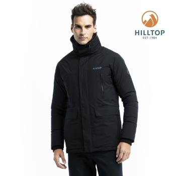 【hilltop山頂鳥】男款WINDSTOPPER保暖蓄熱羽絨短大衣F22M01魚子醬黑