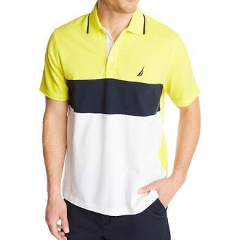NAUTICA 2020男時尚棉質色塊黃黑白色短袖POLO