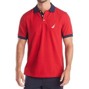 NAUTICA 2020男時尚領袖對比款紅色短袖POLO