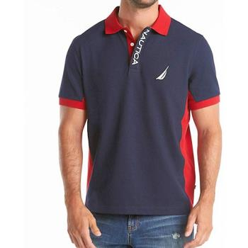 NAUTICA 2020男時尚經典運動深藍紅色短袖POLO