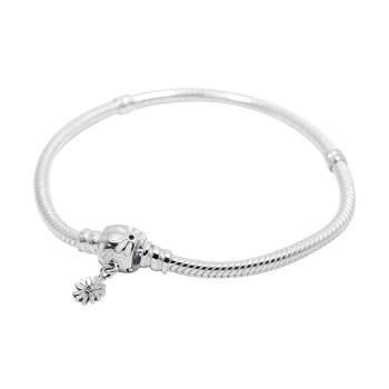 Pandora 潘朵拉 璀璨雛菊飾扣 925純銀蛇鏈手鍊手環 598776C01
