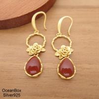 【海洋盒子】細緻金色玫瑰花天然南紅瑪瑙水滴垂墜925純銀耳環