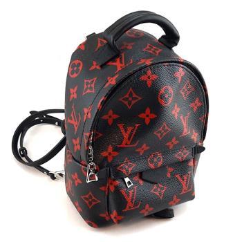 LV 黑底紅色Monogram字紋帆布Mini斜背後背包(展示品)