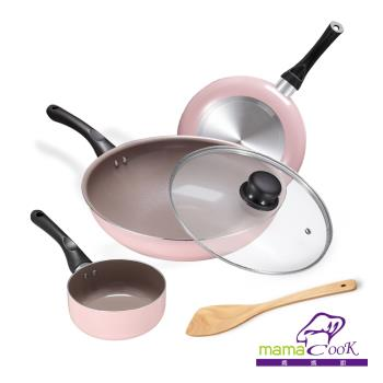 Mama Cook 綻粉陶瓷不沾鍋具三鍋五件組(炒鍋+平底鍋+奶鍋+鍋蓋+木鏟)