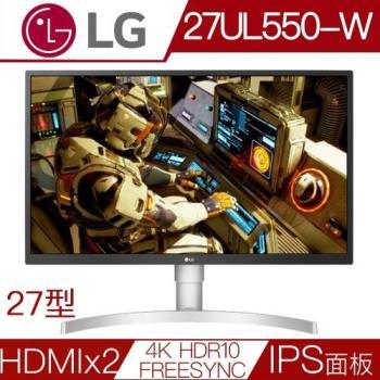 LG 27UL550-W 27型AH-IPS面板4K解析度HDR10電競液晶螢幕
