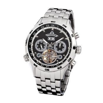 PIONIER GM-505商務型男機械款男士鋼帶手錶 - 銀色 505-5