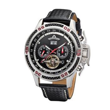 PIONIER GM-515時尚帥氣機械款男士皮帶手錶 - 黑帶銀框 515-1