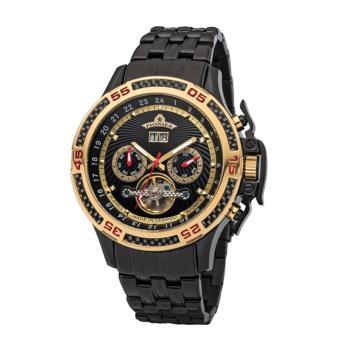 PIONIER GM-515時尚帥氣機械款男士鋼帶手錶 - 黑色 515-12
