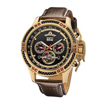 PIONIER GM-515時尚帥氣機械款男士皮帶手錶 - 咖帶金框 515-3