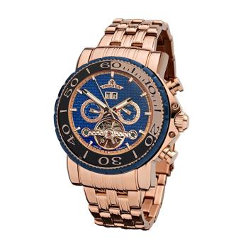 PIONIER GM-506時尚紳士機械款男士鋼帶手錶 - 玫色 506-13