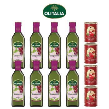 奧利塔葡萄籽油500毫升*8罐+義大利ORO去皮整顆蕃茄400公克*4罐