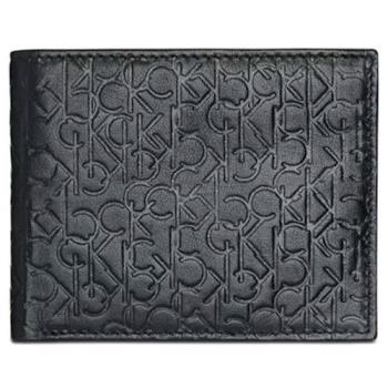 CK 2020男時尚CK浮紋黑色雙折皮夾