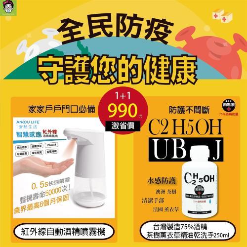 【全自動智慧感應】紅外線自動酒精噴霧+75%酒精茶樹加薰衣草精油乾洗手補充瓶/