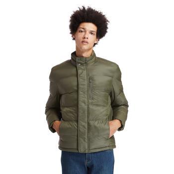 Timberland 男款軍綠色藍保暖防潑水羽絨外套A2EPBA58