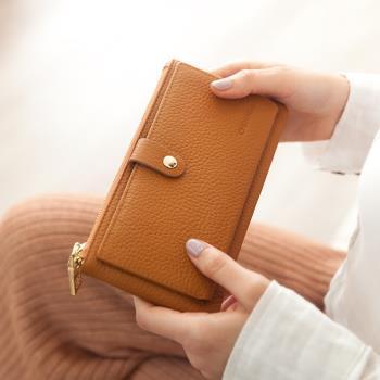 CHENSON真皮13卡超薄2.0典雅長夾皮夾手機包 咖(W28110-B)