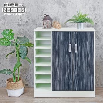 Birdie南亞塑鋼-3尺左開放二門防水塑鋼鞋櫃(鐵刀木色)