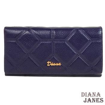長夾【Diana Janes 黛安娜】壓格紋牛皮長夾-紫