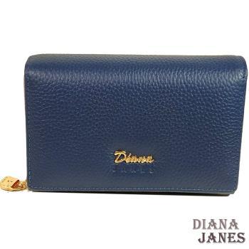 中夾【Diana Janes 黛安娜】牛皮兩折中夾-藍