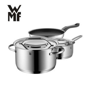 德國WMF GALA PLUS 鍋具三件套組(湯鍋20CM、單手鍋16CM含蓋/不沾平底鍋24CM)