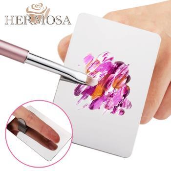 HERMOSA 彩妝粉底/口紅/美甲油不鏽鋼指環調色盤 1入