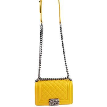 振興券優惠⭐CHANEL 黃色菱格紋羊皮霧銀鍊肩背斜背20公分BOY包(展示品)
