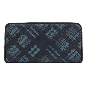BOTTEGA VENETA 510643 小圓點編織窄版拉鍊長夾.深藍