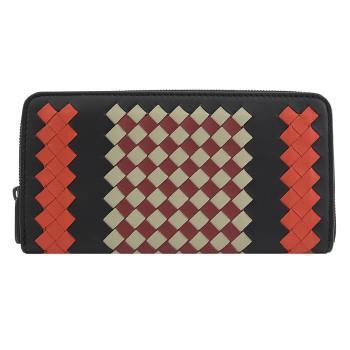 BOTTEGA VENETA 510643 拼色編織窄版拉鍊長夾.黑/橘