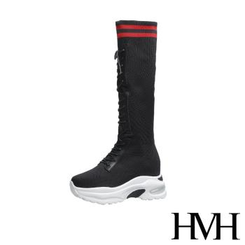 【HMH】運動風彈力飛織襪套造型內增高厚底長靴 黑紅