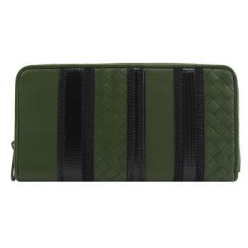 BOTTEGA VENETA 510643 拼色編織窄版拉鍊長夾.綠/黑
