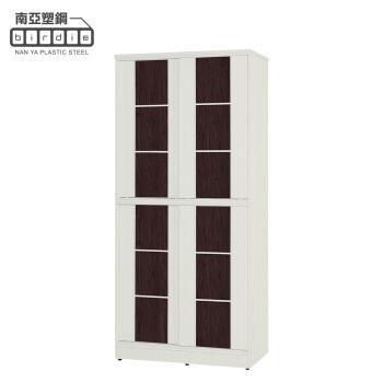 Birdie南亞塑鋼-3尺方塊直飾條四推/拉門防水塑鋼高鞋櫃(白色+胡桃色)