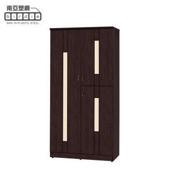 Birdie南亞塑鋼-3尺直飾條三開門防水塑鋼高鞋櫃(胡桃色+白橡色)