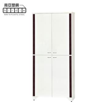 Birdie南亞塑鋼-3尺直飾造型四開門防水塑鋼高鞋櫃(白色+胡桃色)