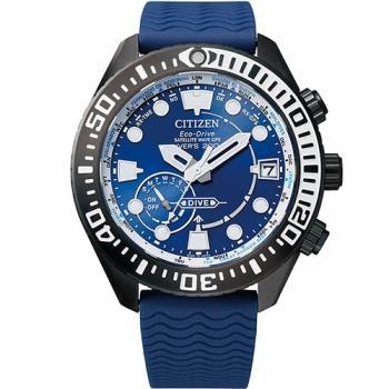 【CITIZEN 星辰】衛星對時光動能水鬼錶-藍(CC5006-06L)