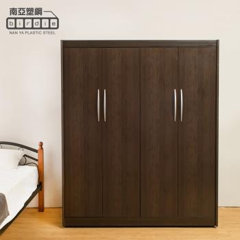 Birdie南亞塑鋼-5.5尺四開門塑鋼衣櫃(胡桃色)