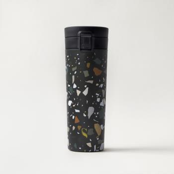 SWANZ 陶瓷保溫輕扣杯(設計款) -390ml - 礫岩石紋