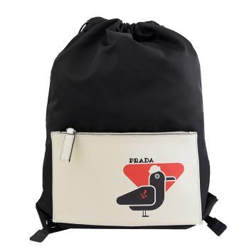 PRADA 2VZ030 海鷗造型束口尼龍抽繩後背包.黑