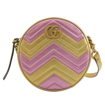 GUCCI 550154 GG Marmont MINI 拼色絎縫圓餅包.金