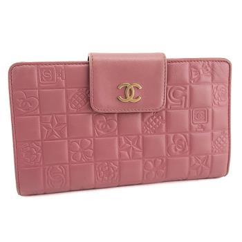 振興券優惠⭐CHANEL 粉紅色方形格紋牛皮六卡扣帶長夾(展示品)
