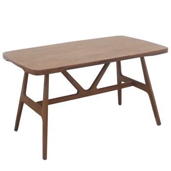 【AT HOME】日式鄉村4.5尺淺胡桃色實木餐桌/工作桌/休閒桌/洽談桌/辦公桌(勞倫斯)