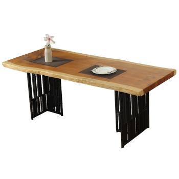 【AT HOME】工業風設計6.6尺原木實木鐵藝餐桌/工作桌/洽談桌(格柵)