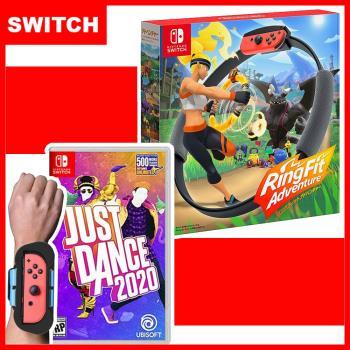 【Nintendo 任天堂】Switch 健身環大冒險+Just Dance 舞力全開 2020 (中文版)+手腕帶