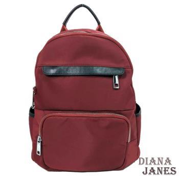 背包【Diana Janes 黛安娜】韓版輕量中性尼龍配皮功能後背包