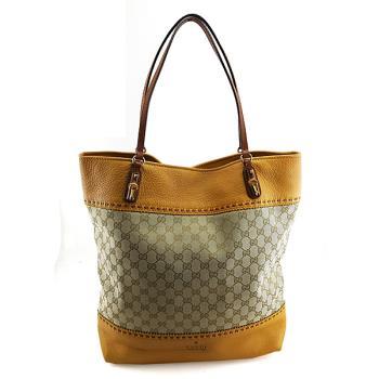 振興券優惠⭐GUCCI 雙G布料拼黃色皮革肩背竹節購物包(展示品)