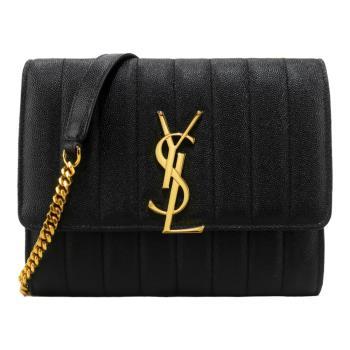YSL Monogram 魚子醬牛皮直紋縫線扣飾鍊帶肩背包(金x黑)