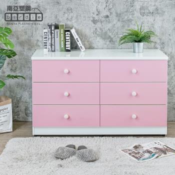 Birdie南亞塑鋼-4.1尺六斗櫃/六抽屜收納櫃/置物櫃(白色+粉紅色)