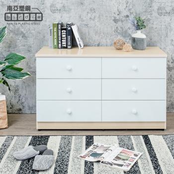Birdie南亞塑鋼-4.1尺六斗櫃/六抽屜收納櫃/置物櫃(白橡色+白色)